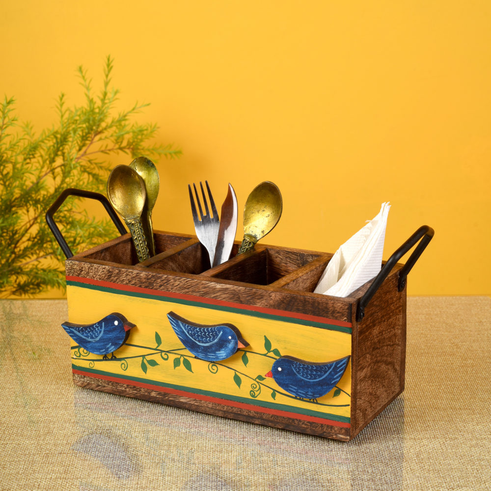 Love Birds Musturd Cutlery Holder (10.5x4x5.5)